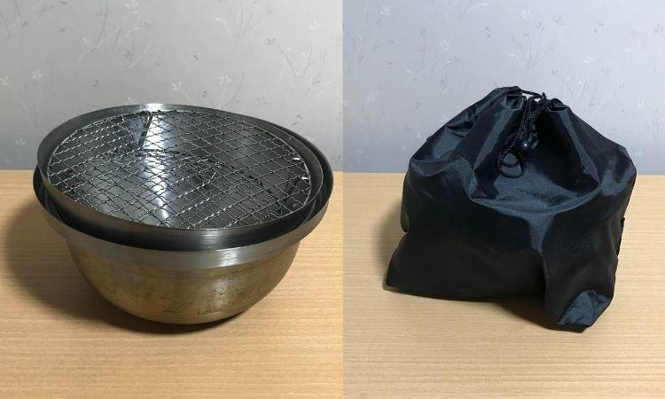 左がスモーカー本体に、蓋と網を重ねた状態。左が付属の袋に収納した状態