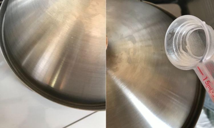 本体の縁に溝がある(左)その溝に15mlの水を注ぎ、シーリングしている所。