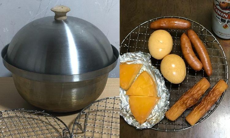 左がコールマンのコンパクトスモーカー。右が作ったチーズやゆで卵の燻製