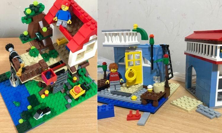 レゴクリエイターの作品。左がツリーハウス、右がシーサイドハウスのブロックで自由に作った作品。