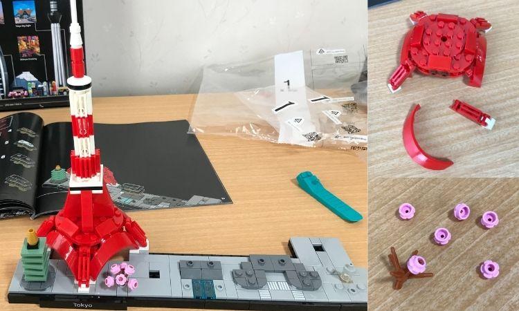 レゴアーキテクチャの製作途中。土台に東京タワーが組み立てられた所