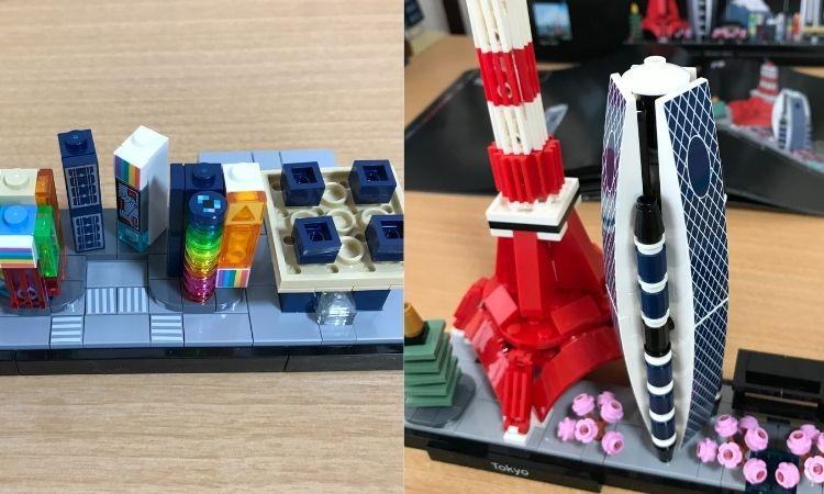 レゴアーキテクチャ東京の製作途中画像