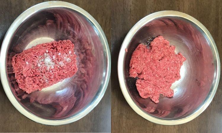 左が肉に塩とこしょうを加えた所、右がこねている途中の肉だね