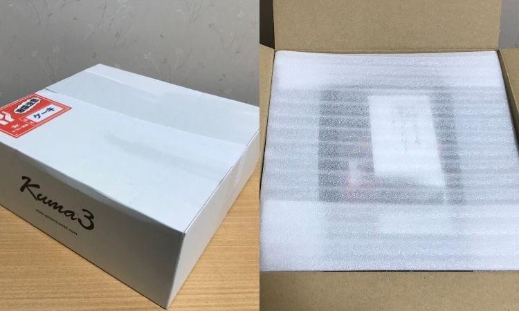 配送されてきた箱と、箱を開けた状態