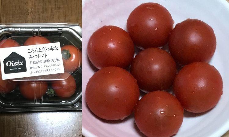 ごろんと真っ赤なみつトマト(千葉県産)。右は洗ってお皿にもりつけた画像
