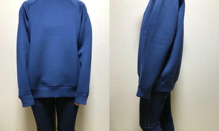 ウルトラストレッチドライスウェットシャツのMサイズを着た状態。正面と横からの画像。