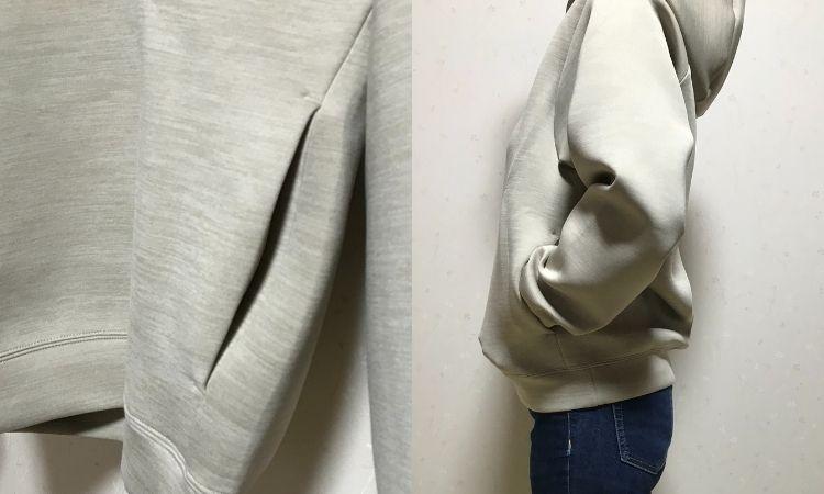 ウルトラストレッチドライスウェットプルパーカ、メンズ品にはポケットがついている。右はポケットに手を入れて着ている画像