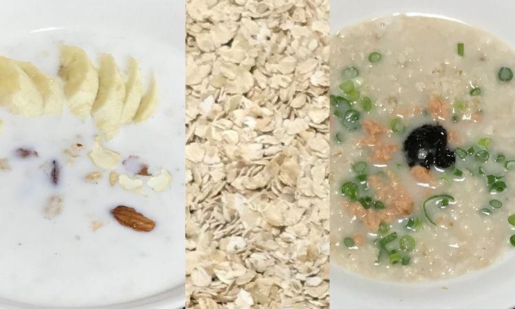 左からホットシリアル、オートミール、和風粥の画像