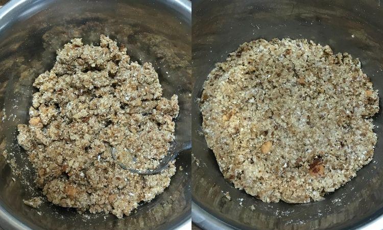 左が水を加えてスプーンで混ぜている画像。右が混ぜた食材を平らにならした状態。
