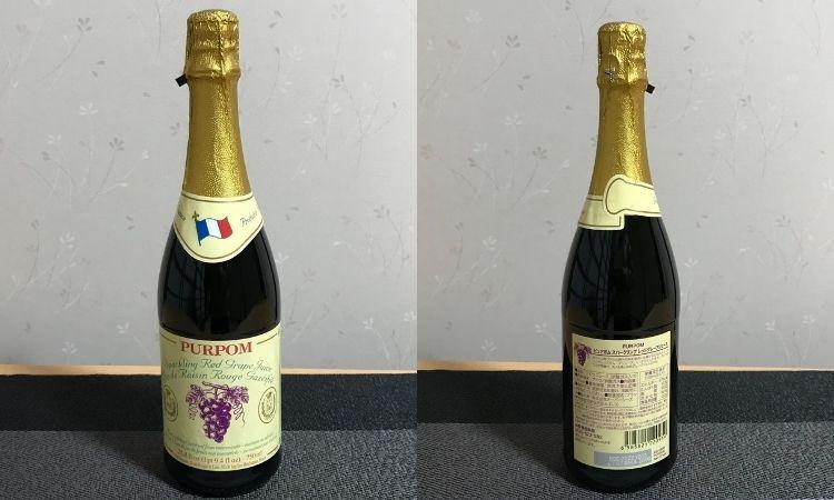 ピュアポムスパークリングジュースレッドのボトル正面と、背面の画像