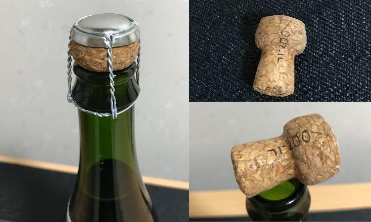 左はワインボトルの口のアップ。右は抜いたコルクの画像。