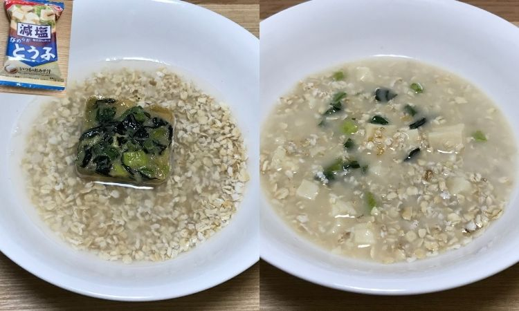 左は豆腐の即席味噌汁をオートミールと水が入った器に入れた画像。右はそれをかき混ぜた状態
