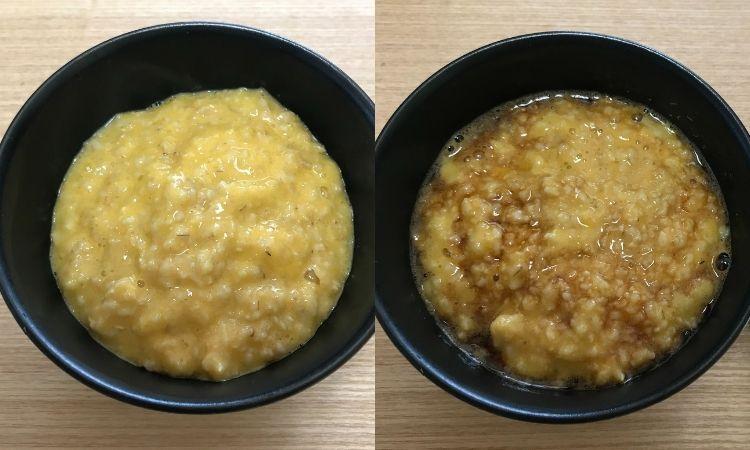 左が生卵とまぜたオートミール。右がさらに醤油をかけたオートミール。どちらもお茶碗によそられている。