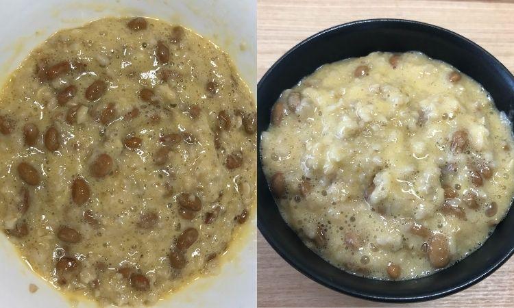 加熱したオートミールに卵と納豆を混ぜた状態