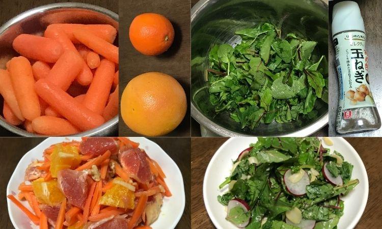 左上はにんじんと、オレンジ、グレープフルーツのアップ画像。右上はベビーリーフがボウルに入れられている画像と玉ねぎドレッシング。左下と右下は代用した食材で作ったサラダを盛り付けた画像