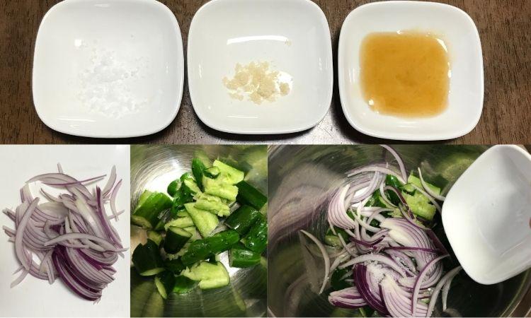 塩、砂糖、ごま油が皿に入れて並べられている。玉ねぎの薄切り、カットされたキュウリがボウルに入れられ、塩を加えている画像。