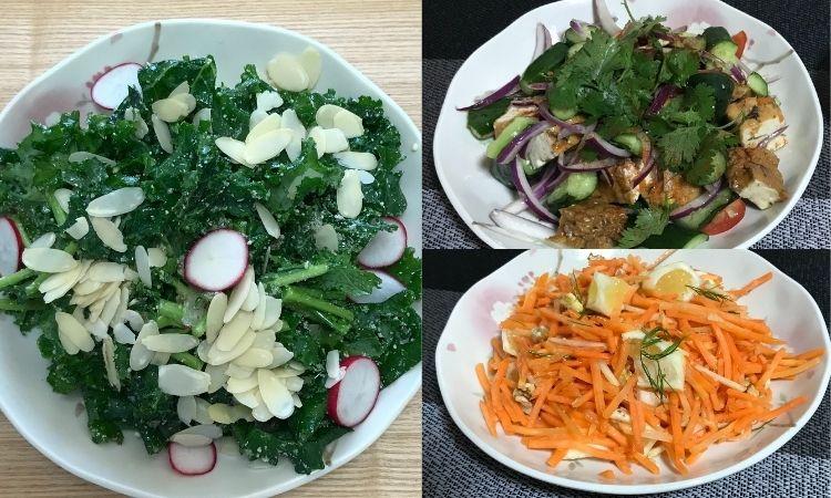 オイシックスのサラダ3つ。ケールサラダ、パクチと生揚げサラダ、ジンジャーキャロットラペ