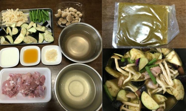 グリーンカレーの材料、ナス、たけのこ、鶏肉、ナンプラー等の食材が並べられている。右上がグリーンカレーペースト、右下が鍋で煮こんでいる画像