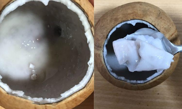 ココナッツの蓋をとりのぞいた状態。白い果肉が見えている。その果肉をスプーンですくっている画像