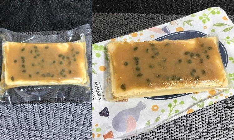 左が外装からだした状態で、透明のフィルムに密閉されている。右がフィルムからだした状態。味噌と山椒がたっぷりチーズに塗られている